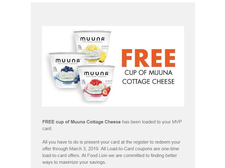Food Lion text offer: FREE Muuna Cottage Cheese! :: WRAL com