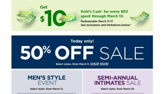 85533355b9f4 Kohl's: 30% coupon & 50% off sale through TODAY + $10 Kohl's Cash + ...