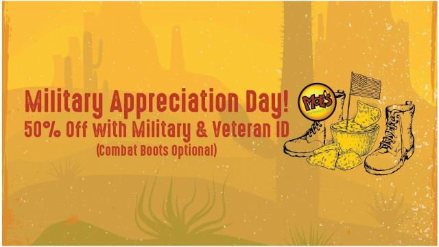 picture relating to Moes Printable Menu identified as Moes Southwest Grill: 50% off lower price for Military services