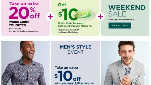 033b36223f2c Kohl's: 20% off coupon through Sunday + $10 Kohl's Cash + $10 men's ...