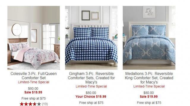 Macy S 3 Piece Reversible Comforter Sets Only 19 99 Reg 80