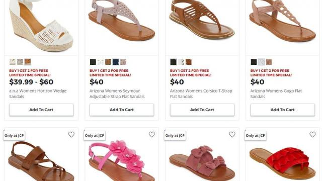 55f857d56b8b5 JCPenney Sale (photo courtesy) · JCPenney.com is offering a super deal on Women s  Sandals  Buy 1 Get 2 FREE through ...