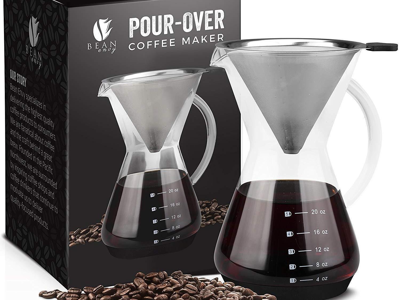 Bean Envy 20 Oz Pour Over Glass Coffee Maker Only 1987 Wralcom