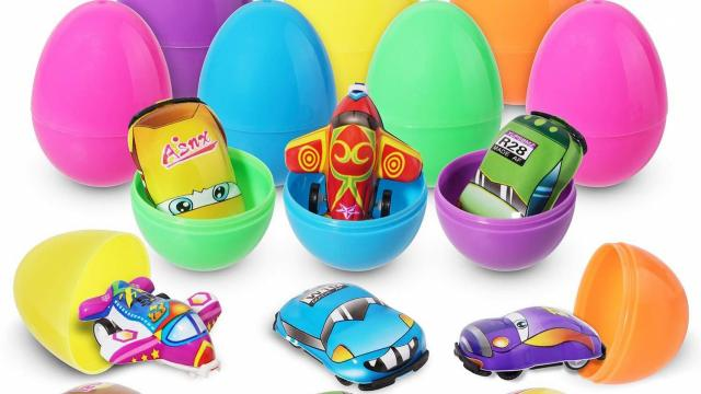 Easter Eggs Filled with Mini Pull-Back Vehicle Toys