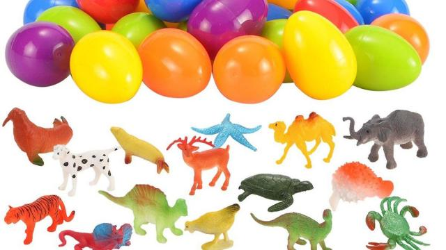 Easter Eggs Filled with Assorted Animal Figures Set of 48