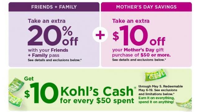 165fde1e92c Kohl's: New 20% off coupon + $10 Kohl's Cash + $10 off Mother's Day ...