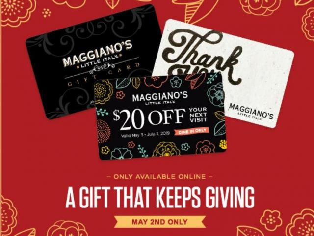 picture regarding Maggianos Printable Coupon identify Maggianos Minor Italy: $20 reward card for each $75 your self