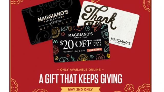 image regarding Maggianos Printable Coupon referred to as Maggianos Small Italy: $20 reward card for each individual $75 by yourself