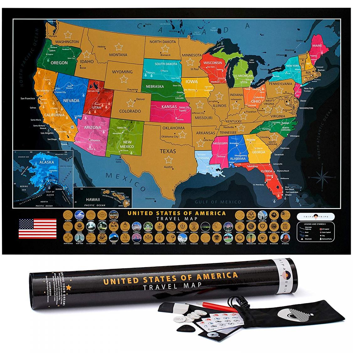 Scratch Off United States Map with Landmarks only $13 97