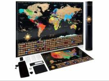 Scratch Off World Map and United States Map Set