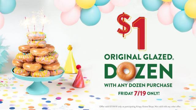 Phenomenal Krispy Kreme Dozen Glazed For 1 When You Buy A Dozen July 19 Funny Birthday Cards Online Alyptdamsfinfo