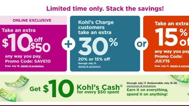 d154e11e4 Kohl's: New 2-day sale + HOT stackable coupons + $10 Kohl's Cash ...