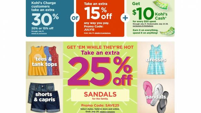 Sandals 25Off Clothesamp; 24 Kohl'sNew CouponFor5 EHIWD29