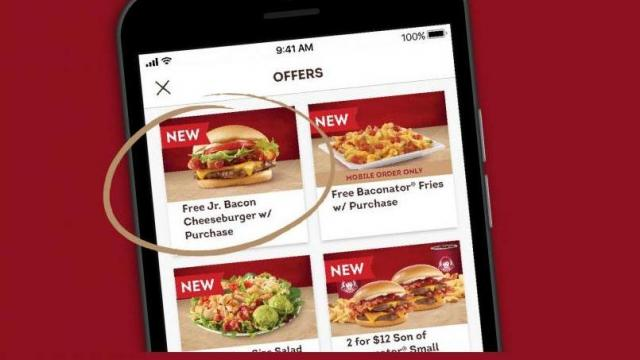 photograph relating to Wendy's Printable Coupons identify Totally free Jr. Bacon Cheeseburger with any buy at Wendys