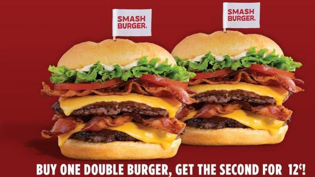 photo about Smashburger Printable Coupon identify Smashburger: Acquire a Double Burger, consider 1 for 12 cents August
