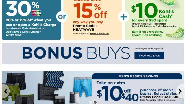 image about Total Wine Coupon Printable identify Kohls: 30% off coupon + $10 Kohls Revenue + $10 off Mens