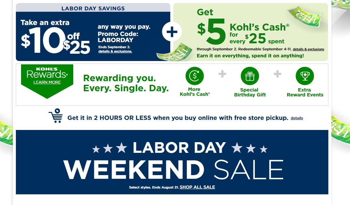 Kohl S Coupon For 10 Off 25 Purchase 5 Kohl S Cash