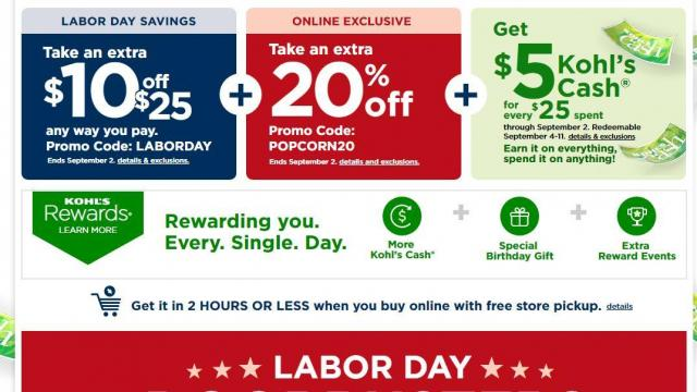Kohl's: Coupons for 20% off, $10 off $25 purchase + $5