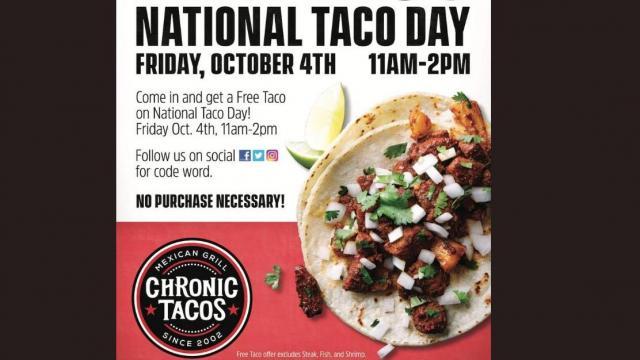 Chronic Tacos National Taco Day Offer (photo courtesy Chronic Tacos)