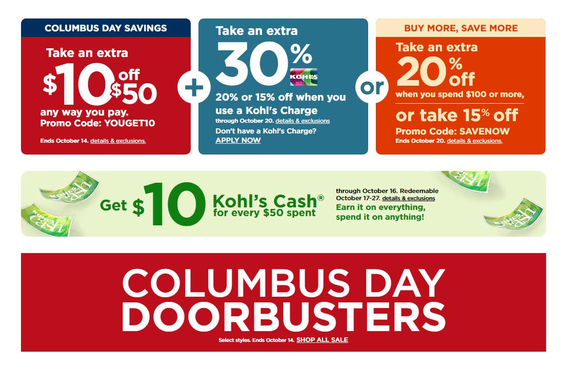 Kohl's: New $10 off $50 coupon, 30% off