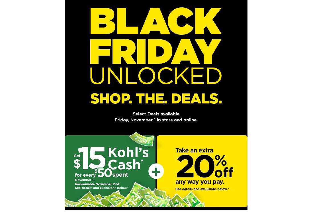 Kohl S 1 Day Black Friday Sale 15 Kohl S Cash For Every 50 Spent On Nov 1 Wral Com