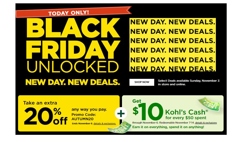 Kohl S New Early Black Friday Deals Sunday 20 Coupon 10 Kohl S Cash Wral Com