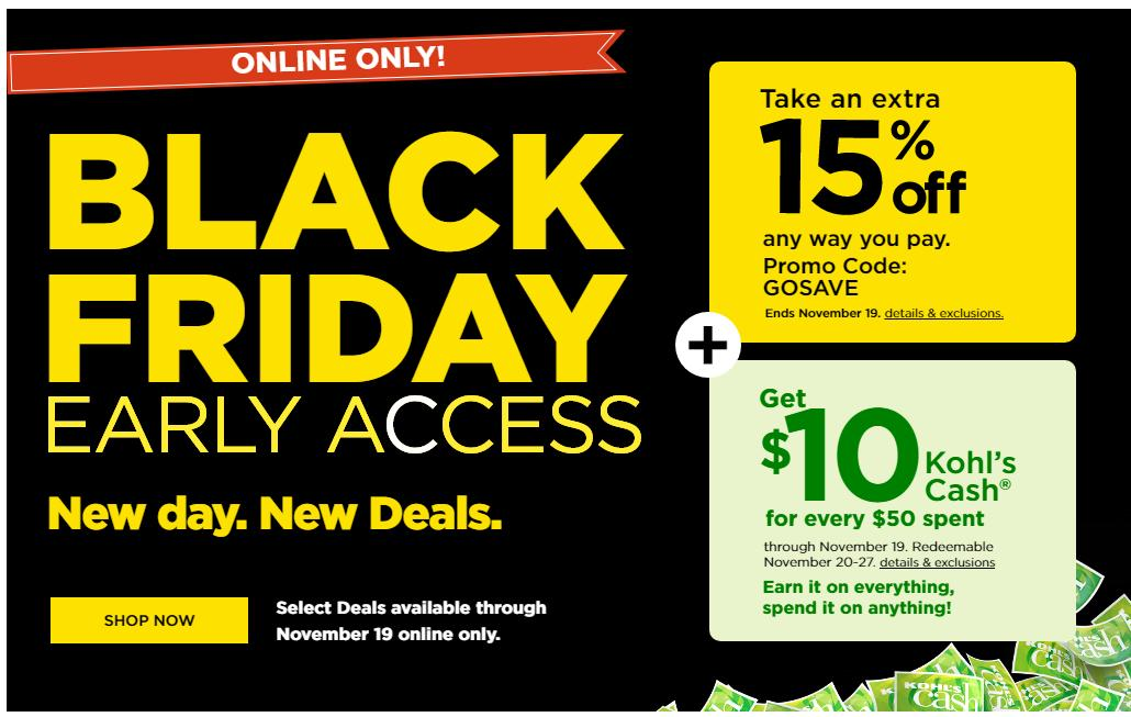 Kohl's: Black Friday Early Access Online Sale TODAY, 1119 +