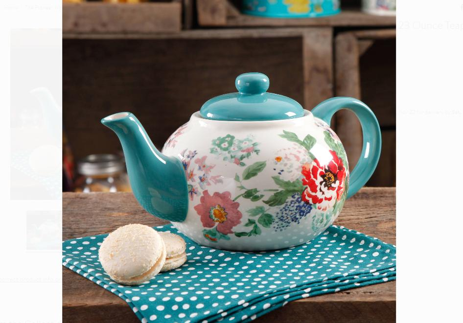 The Pioneer Woman Country Garden 23 oz Ceramic Tea Pot with  Lid Fast Shipping