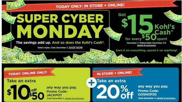 Kohl's Cyber Monday Sale (photo courtesy Kohl's)