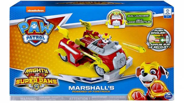 Paw Patrol, Mighty Pups Super Paws Marshall's Powered Up Fire Truck Transforming Vehicle (photo courtesy Amazon)