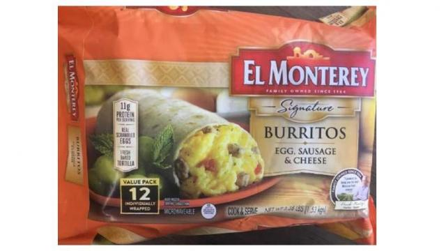 EL MONTEREY Signature BURRITO EGG, SAUSAGE & CHEESE (photo courtesy fsis.usda.gov)