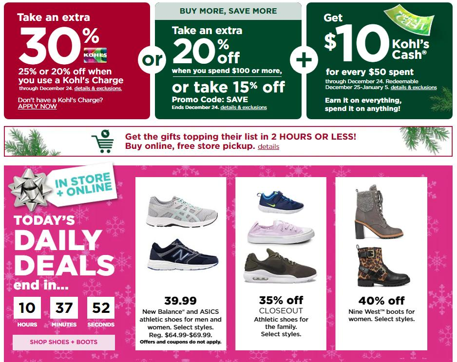 Kohl S Shoe Boot Sale Today 30 Off Coupon And 10 Kohl S Cash Wral Com