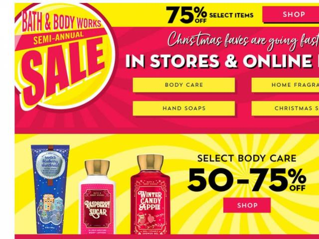 Bath And Body Works Days Of Christmas Sales 2020 Bath & Body Works: 75% off Semi Annual Sale going on now! :: WRAL.com