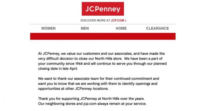 Jcpenney In North Hills Closing In April Wral Com
