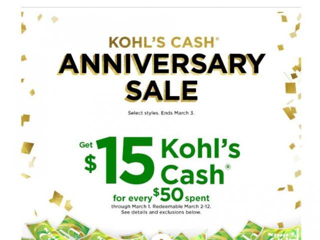 Kohl S 15 Kohl S Cash 30 Off Coupon And Big Anniversary Sale Wral Com