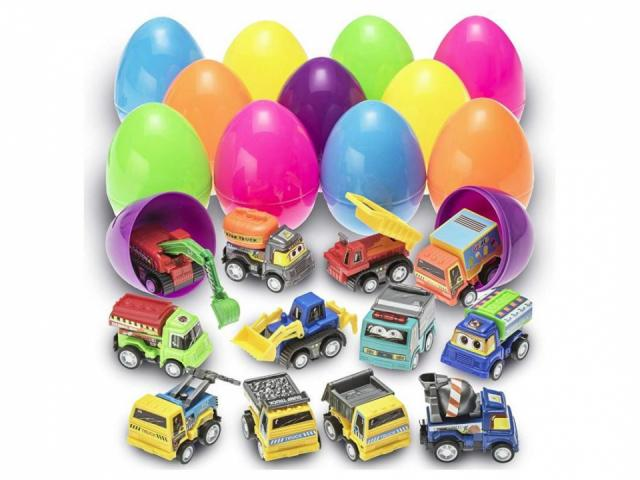 Easter Eggs Filled with Pull-Back Construction Vehicles (photo courtesy Amazon)