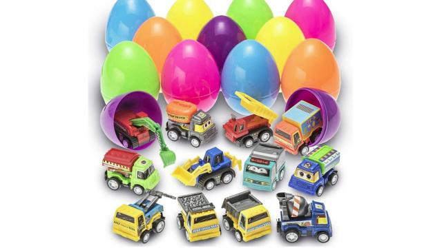 Easter Eggs Filled with Pull-Back Construction Vehicles