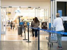 Walmart store practicing social distancing