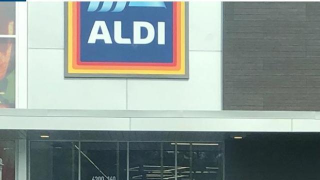 Aldi on Creedmoor Rd in Raleigh, NC (photo courtesy Carol D.)