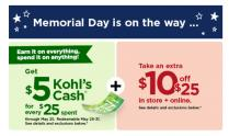 IMAGE: Kohl's Memorial Day Sale: $10 off $25 coupon, $5 Kohl's Cash, big discounts on patio & tableware