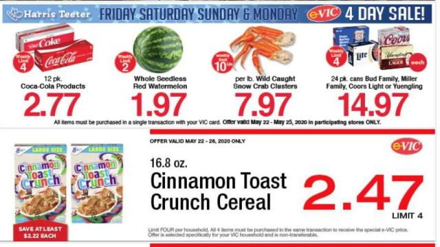 Harris Teeter e-Vic offers (photo courtesy Harris teeter)