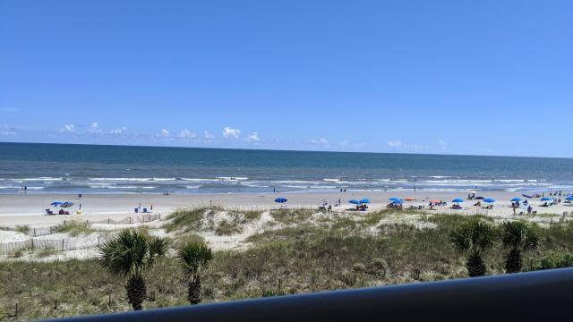 View of Ocean Isle Beach from Ocean Isle Inn hotel porch, top floor, July 2020