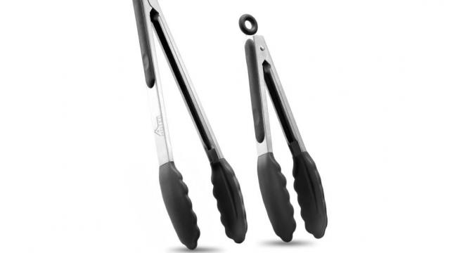 Stainless Steel Locking Kitchen Tongs Set (photo courtesy Amazon)