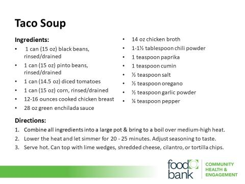 Taco Soup Recipe Card (photo courtesy the Food Bank of Central & Eastern North Carolina)