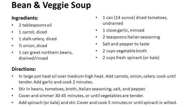Bean & Veggie Soup Recipe (photo courtesy Food Bank of Central & Eastern North Carolina)