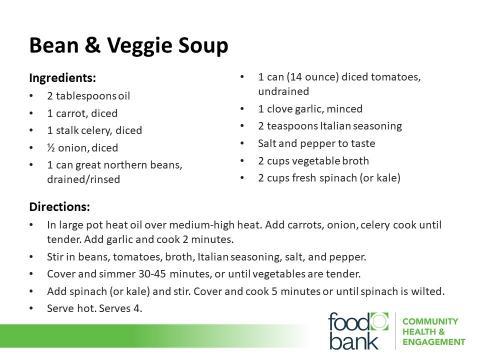 Bean & Veggie Soup Recipe courtesy Food Bank of Central & Eastern North Carolina