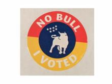 Early voting sticker handed out in Durham, NC (the Bull City) for 2020