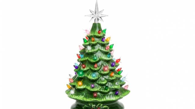 Best Choice Products 15in Pre-Lit Hand-Painted Ceramic Tabletop Christmas Tree (photo courtesy Walmart)