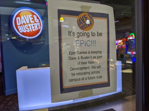 Sign on Dave & Buster's door at Cary Towne Center, Cary, NC