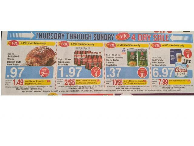 Harris Teeter 4-Day Sale & new e-Vic deals: Canned veggies, pork roast, Coca-Cola :: WRAL.com